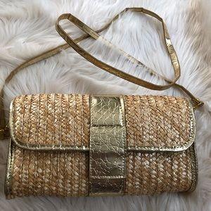 Big Buddha straw crossbody clutch summer purse bag